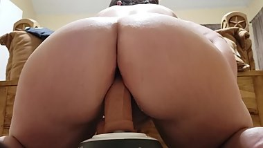 Teen pawg riding big dildo