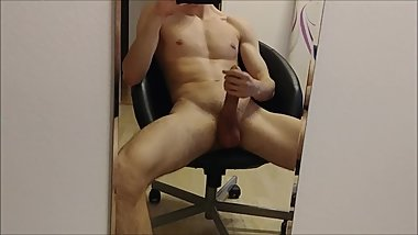 Mirror Fun  Big Dick Masturbation