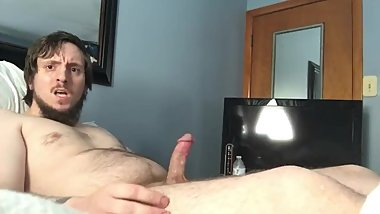 me jerking out an intense explosive cumshot while talking dirty.