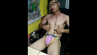 Cute asian boy and poppers.