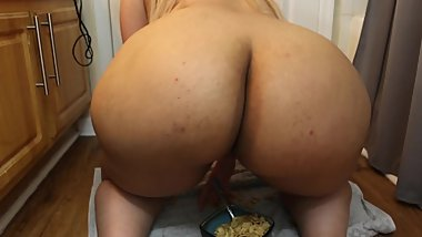 big ass squatting over a bowl of cereal
