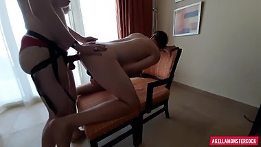 Amateur Rough Pegging His Ass in Front of Window - Amazing Strapon Riding