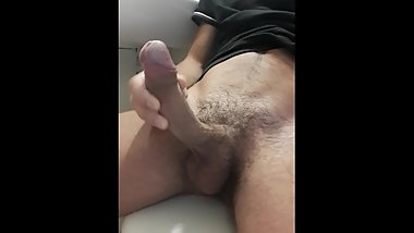Jerking off a big young dick