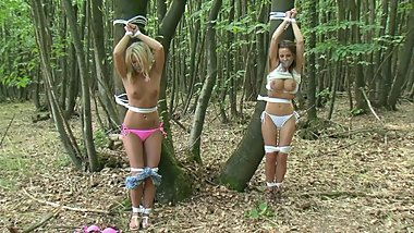 Two Girls Captured Tree Tied! POV Woodland Bondage HD