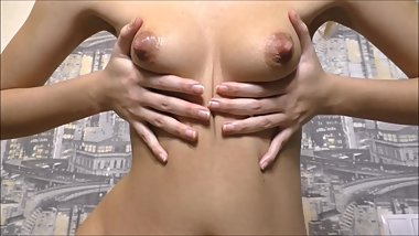 Teeny girl playing with puffy nipples and belly botton