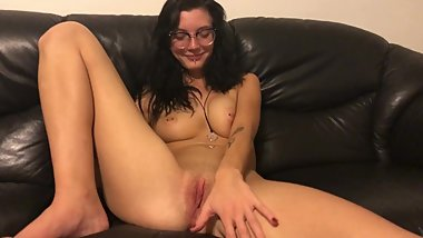 TINY 18 YEAR OLD EMO GOTH TEEN PLAYS WITH HER PUSSY AND FINGERS IT HARD
