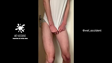 Skinny twink desperate for his morning piss and doesn't make it