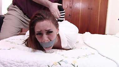 Punished Redhead Teen Schoolgirl Hogtied, Mouth Taped, Gagged and Fucked