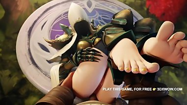 Warcraft - Elf Teen Anal Fuck Foot Fetish POV 3D Video Game