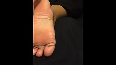 Ebony soles stroking