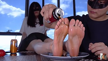 Drinking Coke From Chloe's Soaking Nylon Feet