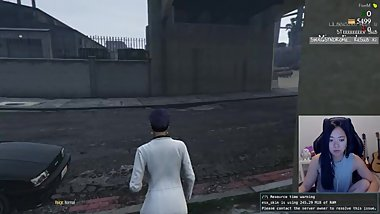 Hot cosplaying cat chick gets pounded while playing GTA V Roleplay