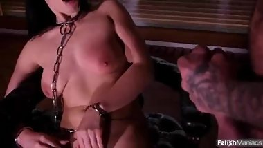 Submissive in chains with Mike Angelo