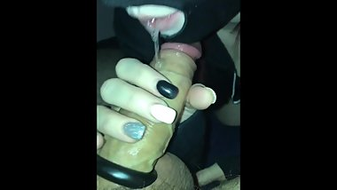 MASKED SLUT SLOPPY BLOWJOB WITH THICK CUM FINISH
