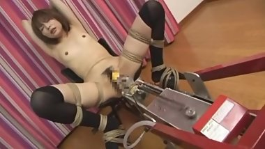 Japanese chick in stockings with fucking Machine