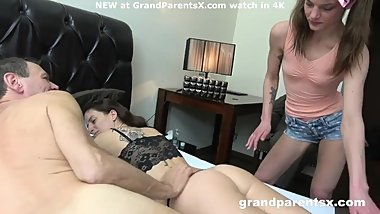 Trashy massage girls gets a load on her ass from daddy