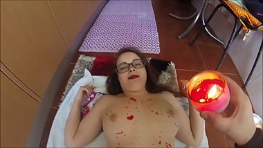 PALE TEEN RED CANDLE WAX FETISH