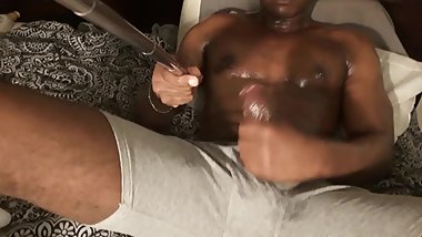 Black boy strokes FAT DICK and HUMPS hand part 2 (Cumshot)