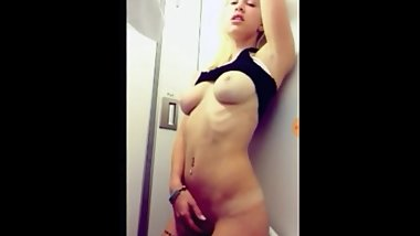 Sister masturbating in an airplane bathroom