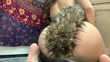 teen plays with butt plug fox tail and toy