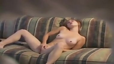 Sexy redhead cums on hidden cam