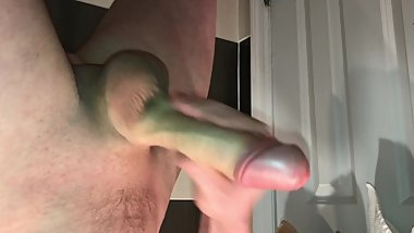Stroking beautiful dick in bathroom. Load a lot of cum