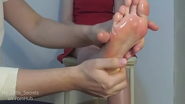 Oil soles massage with little bit shoes, pantyhose and tickling foot fetish