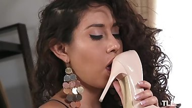 Hot Latina teasing you with her stilettos in stockings
