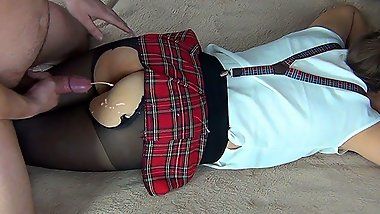 Fucked amateur SUBMISSIVE schoolgirl WEARING in skirt and tights (TEASER)