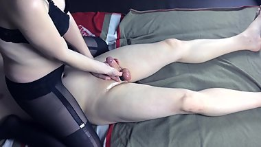 Russian misstress in stockings handjob femdom