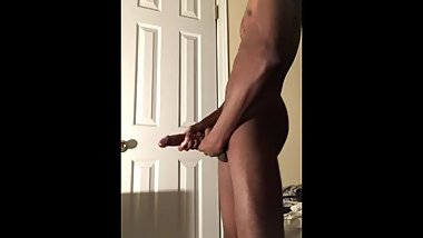 Big Dick Teen Strokes Dick After Shower