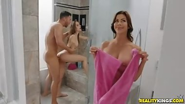 Threes Cumpany In The Shower