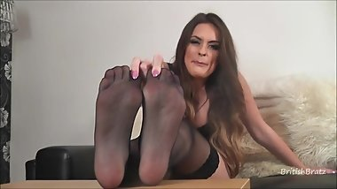 British Bratz Nylon Feet Tease Fetish